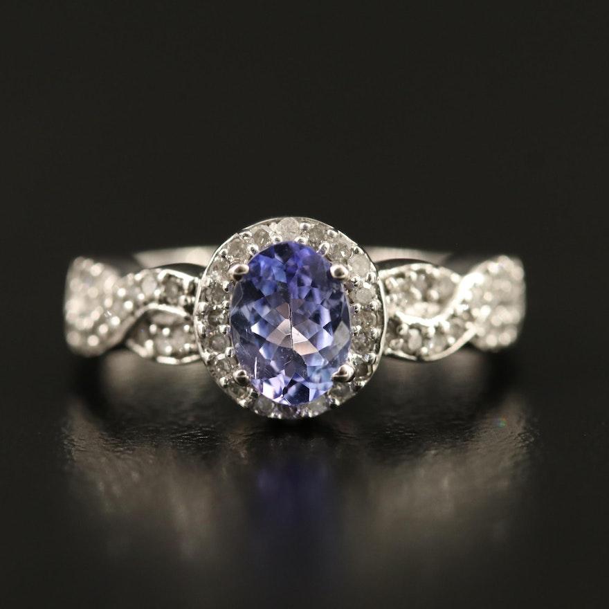 9K Tanzanite Diamond Ring