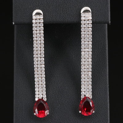 Sterling Glass and Cubic Zirconia Drop Earrings