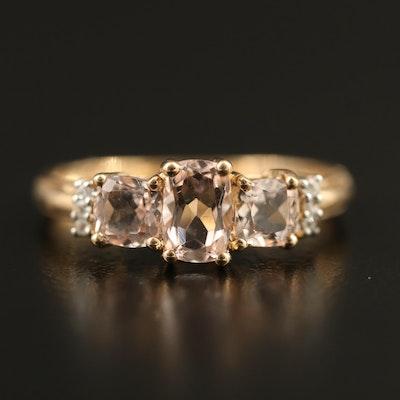 9K Morganite and Zircon Ring