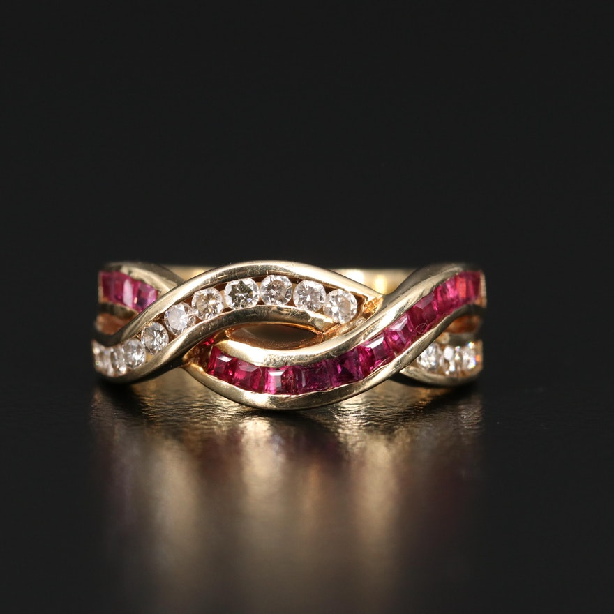 14K Ruby and Diamond Crossover Ring
