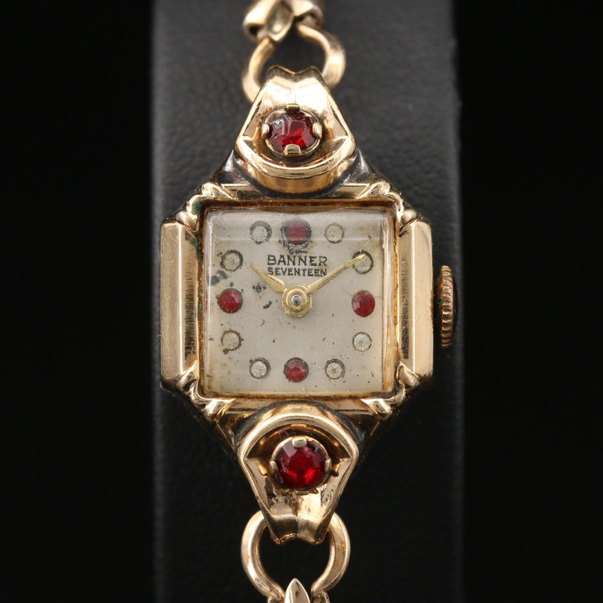 Vintage Banner Stem Wind Wristwatch with Red and White Crystal Accents