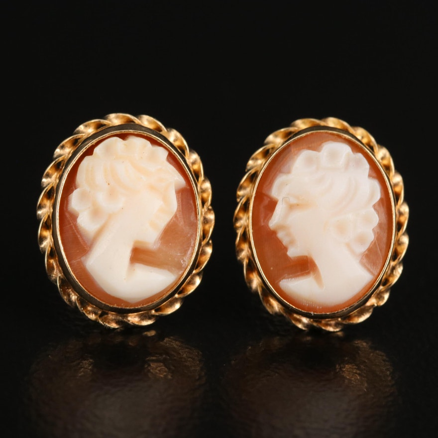 14K Shell Cameo Stud Earrings