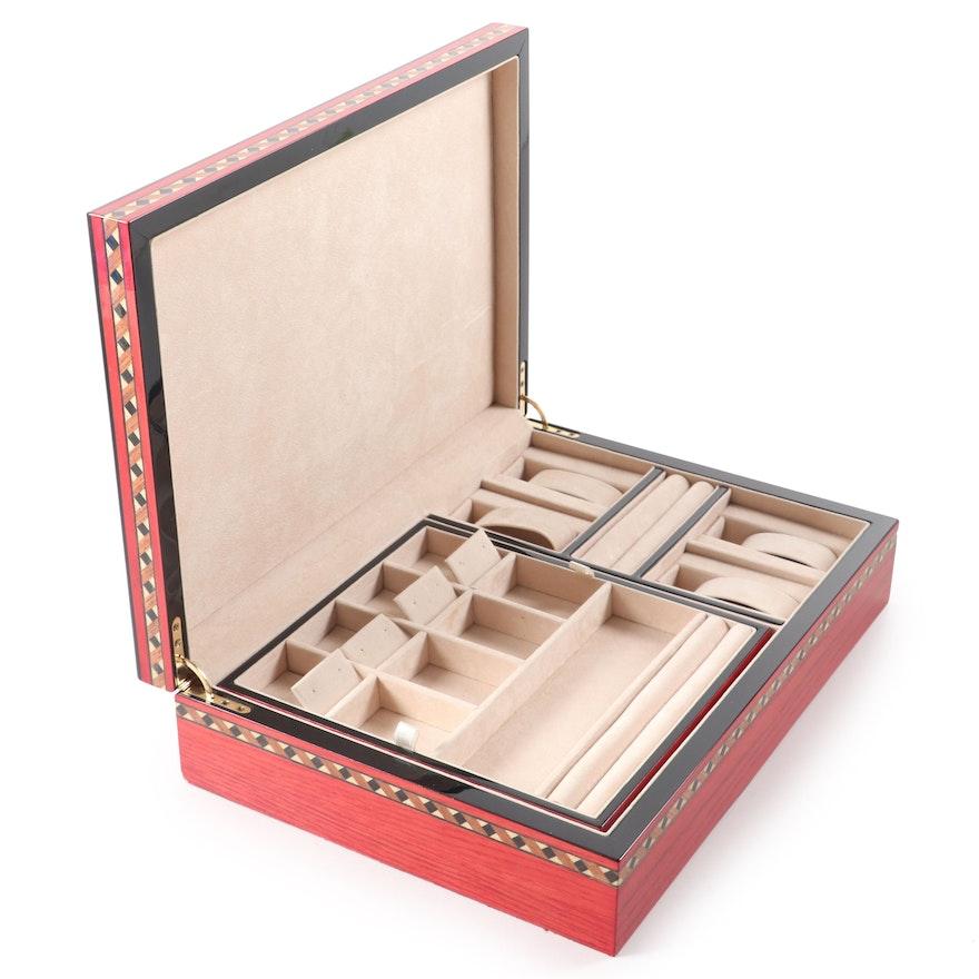 Tunbridge Style Inlayed Jewelry Box, Contemporary