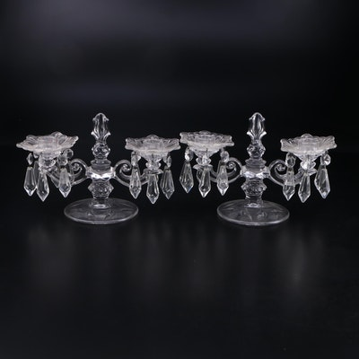 Etched and Pressed Glass 2 Light  Candelabra