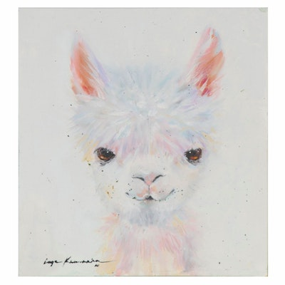Inga Khanarina Oil Painting of a Llama, 2020