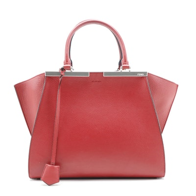 Fendi Petite 3Jours Red Leather Trapeze Bag with Blue Leather Lining