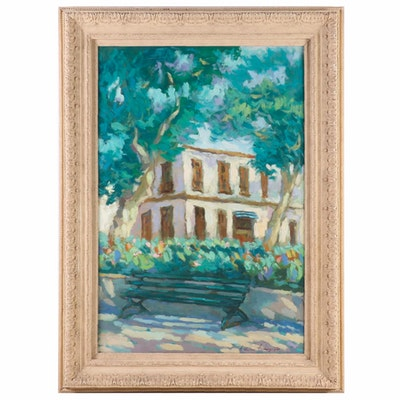 Impressionist Style Oil Painting of Park Scene with Bench, Late 20th Century