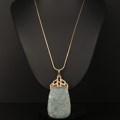 14K Carved Floral, Fauna and Bird Themed Jadeite Necklace