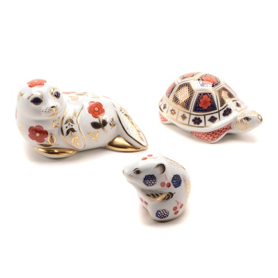 "Royal Crown Derby ""Imari"" Bone China Animal Paperweights"