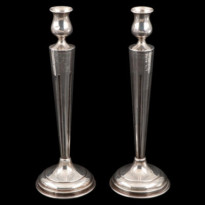 American Weighted Sterling Silver Candlesticks, Early to Mid 20th Century