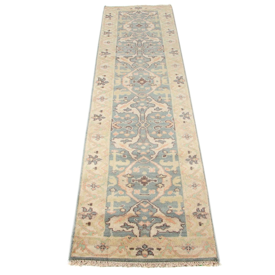 2'5 x 10'0 Hand-Knotted Indo-Turkish Oushak Runner
