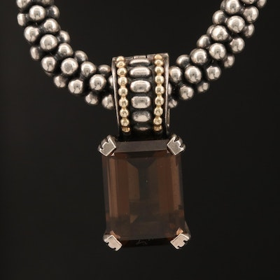 Caviar by Lagos Sterling Smoky Quartz Enhancer Pendant Necklace with 18K Accents