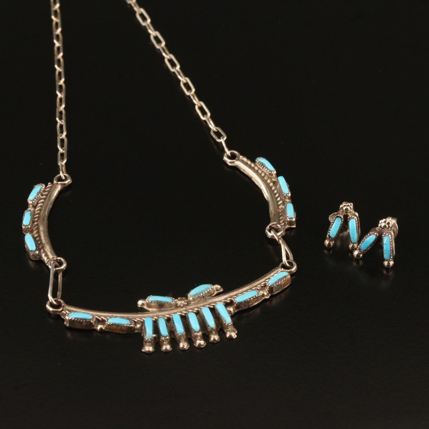 Signed Zuni and Southwestern Sterling Silver Turquoise Needlepoint Jewelry