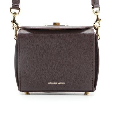 Alexander McQueen  Box Shoulder Bag in Burgundy Leather