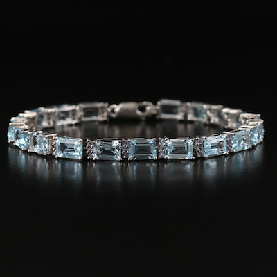 Sterling Silver Topaz and Tanzanite Line Bracelet