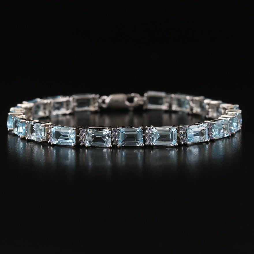 Sterling Silver Topaz and Tanzanite Line Bracelet