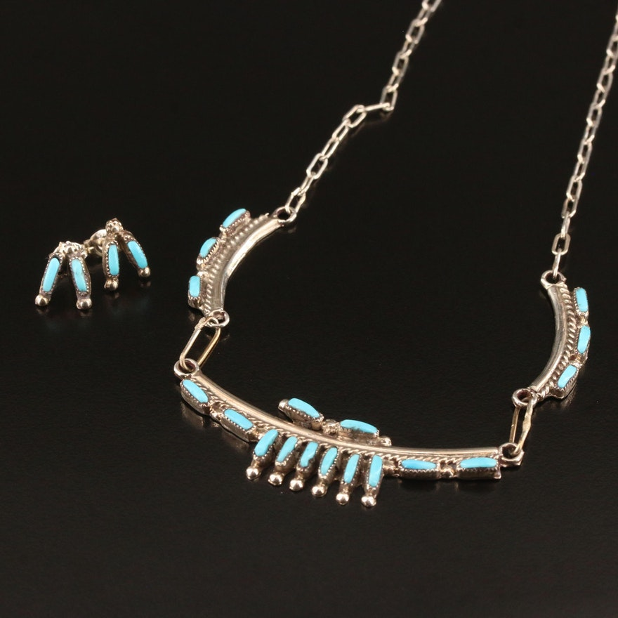 Southwestern and Zuni Sterling Silver Turquoise Needlepoint Jewelry