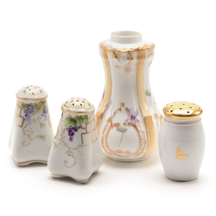 Hobbyist Hand-Painted Porcelain Shakers, Late 19th to Early 20th Century