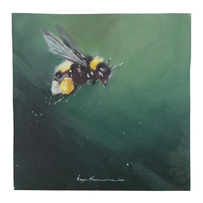 Inga Khanarina Oil Painting of a Bumble Bee, 2020