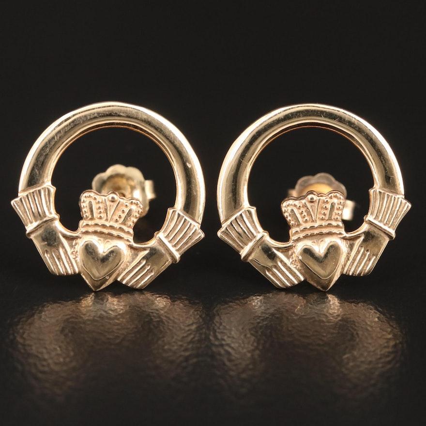 14K Claddagh Stud Earrings