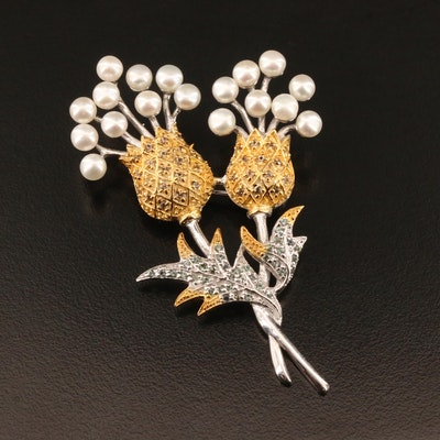 Sterling Silver Pearl and Sapphire Thistle Motif Brooch