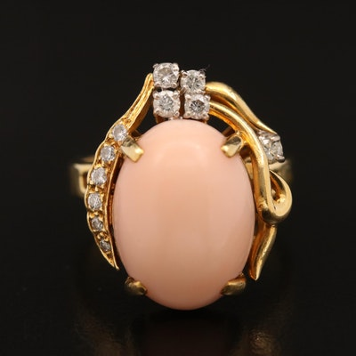 Vintage 18K Coral and Diamond Ring