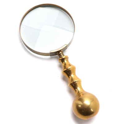 Brass Magnifying Glass, Early to Mid 20th Century