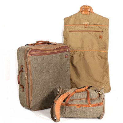 Hartmann Tweed Wool, Leather and Nylon Three-Piece Travel Luggage Set
