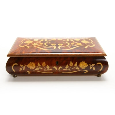 Italian Blonde Wood Marquetry Burlwood Musical Jewelry Box, Late 20th Century