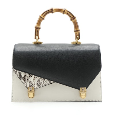 Gucci Ottilia Bamboo Top Handle Bag in Leather and Snakeskin