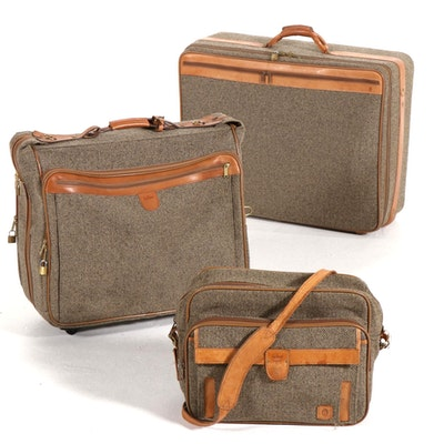Hartmann Tweed and Leather Three-Piece Luggage Set