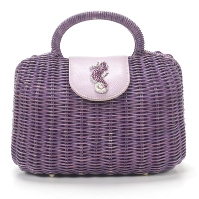 Gita Costa for Eliza Gray Rhinestone Seahorse Purple Wicker Handbag