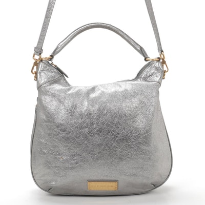 Marc by Marc Jacobs Metallic Silver Leather Two-Way Shoulder Bag