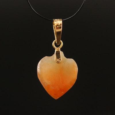 14K Jadeite Heart Pendant