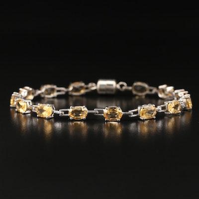Sterling Silver Citrine Link Bracelet