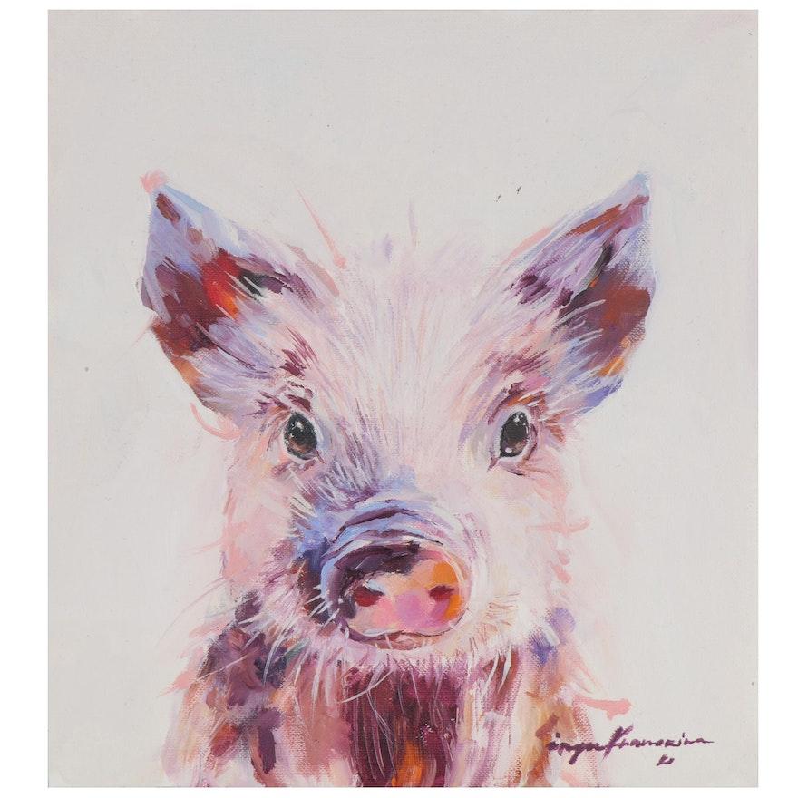 Inga Khanarina Oil Painting of a Pig, 2020