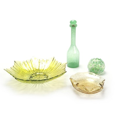 Controlled Bubble Glass Bowl and Other Yellow and Green Art Glass, Mid-20th C.