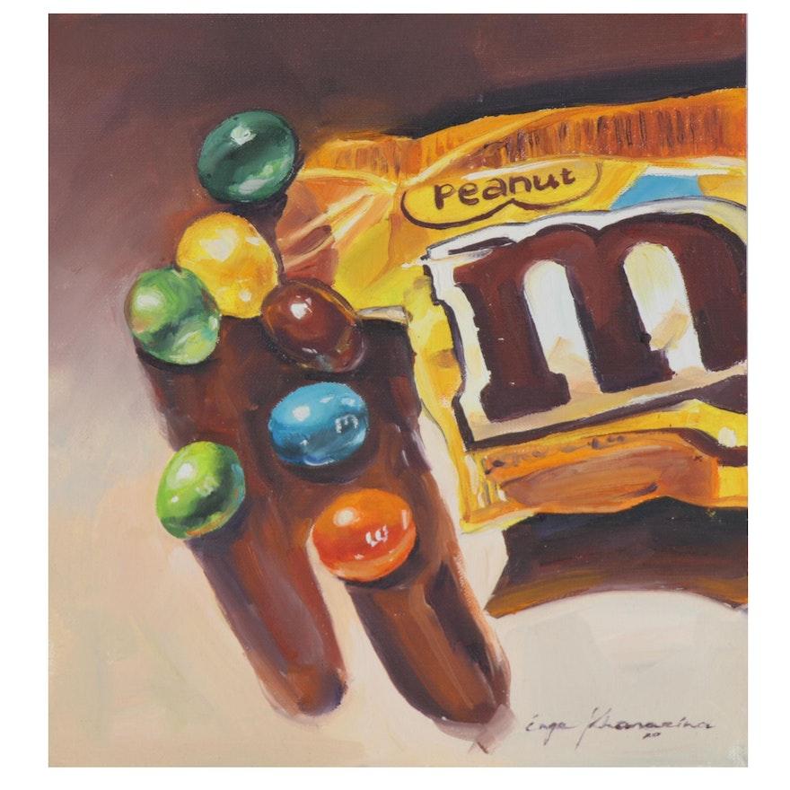 Inga Khanarina Oil Painting of Peanut M&Ms, 2020