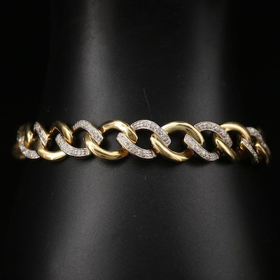 Sterling Silver Diamond Curb Link Bracelet