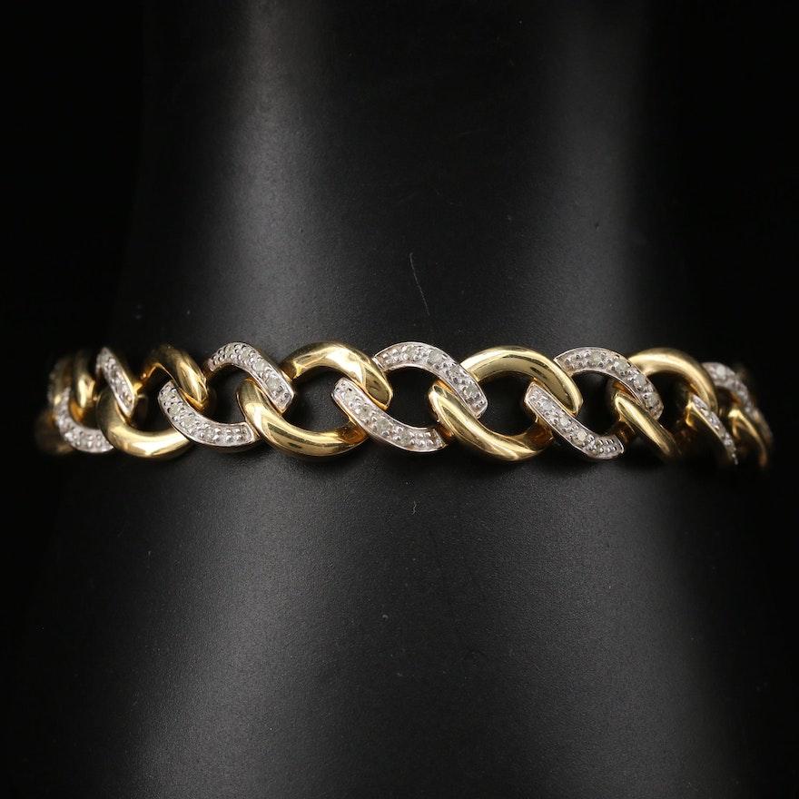 Sterling Silver Diamond Curb Link Bracelet