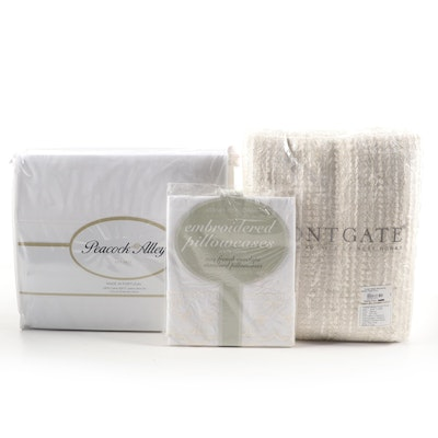 Frontgate Metallic Frayed Throw, Peacock Alley Cotton Sateen Sheet Set, and More