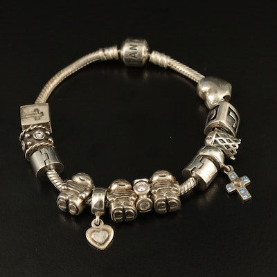 Pandora Sterling Charm Bracelet with Cubic Zirconia Accents