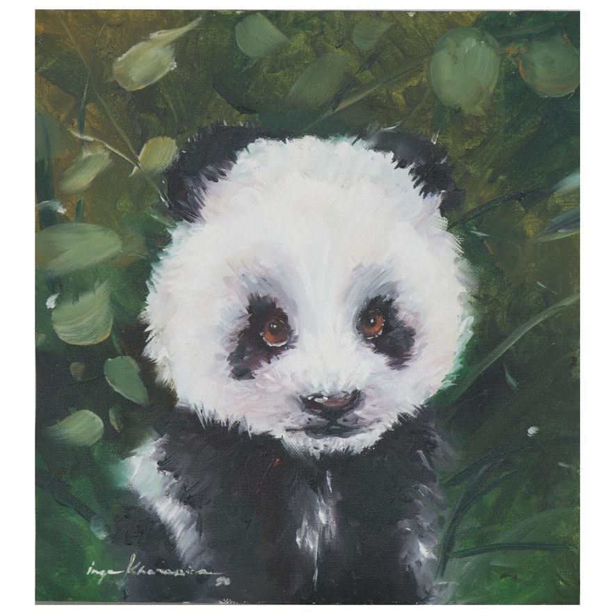 Inga Khanarina Oil Painting of a Panda, 2020