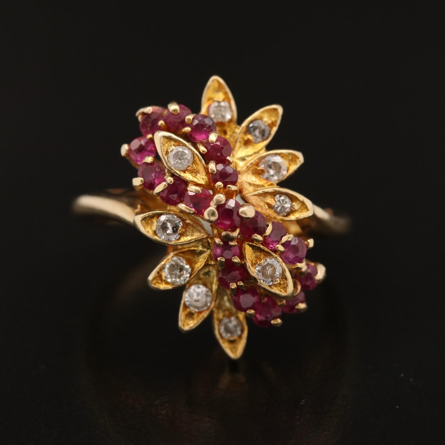 14K Diamond and Ruby Cluster Ring