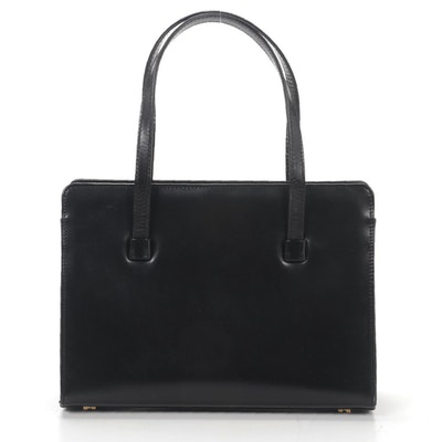 Lambertson Truex Black Leather Top Handle Bag