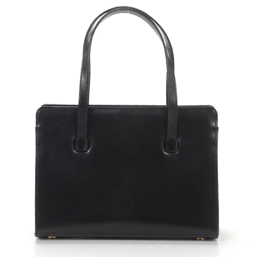 Lambertson Truex Black Leather Top Handle Bag