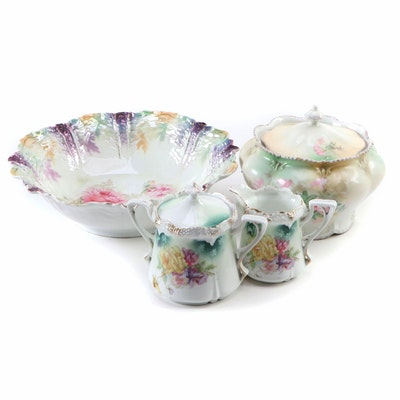 Reinhold Schlegelmilch Porcelain Lustreware Bowl and Tableware, Early 20th C.