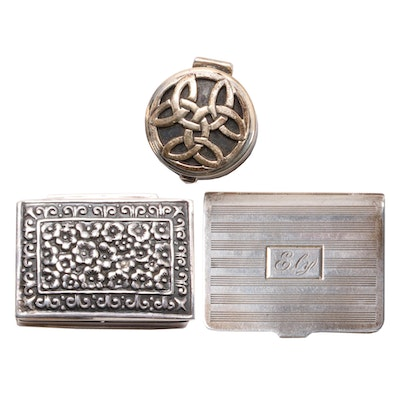Celtic Knot and Other Sterling Pill Boxes, Early to Mid 20th Century