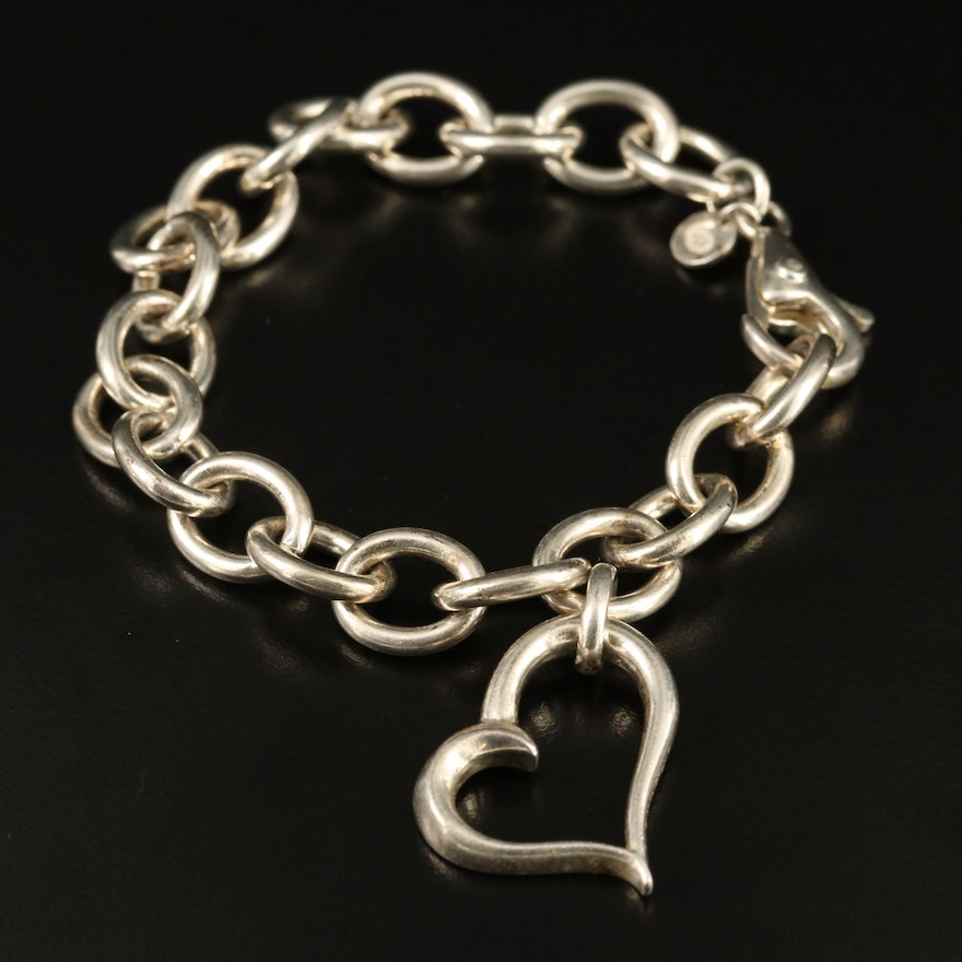 Metalsmiths Sterling Cable Chain Bracelet with Heart Charm
