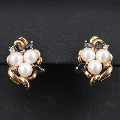 14K Pearl, Sapphire and Diamond Cluster Earrings
